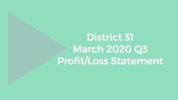 District 31 March 2020 Q3 Profit/Loss statement